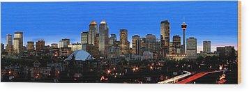 Calgarys Skyline Wood Print by Richard Wear