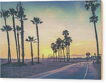Cali Sunset Wood Print by Az Jackson