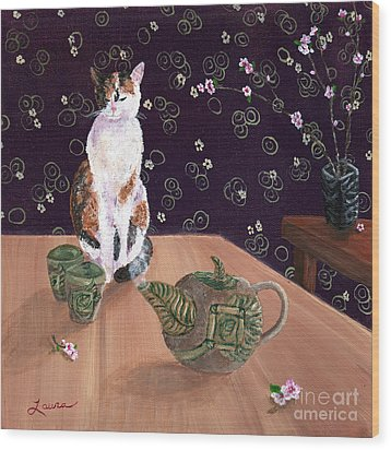 Calico Tea Meditation Wood Print by Laura Iverson