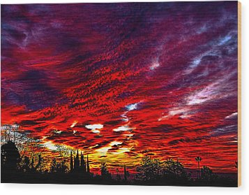 Sunrise In Los Angeles Wood Print