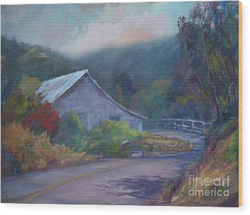 California Barn ... Around The Bend Wood Print by Deirdre Shibano