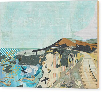 California Coast Collage Wood Print by Claudia Schoen