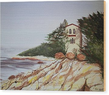 Wood Print featuring the painting California Coast Dreamhouse by Judy Via-Wolff