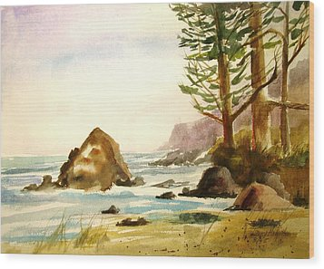 California Coast Wood Print by Larry Hamilton