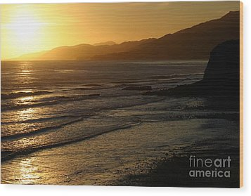 California Coast Sunset Wood Print by Balanced Art