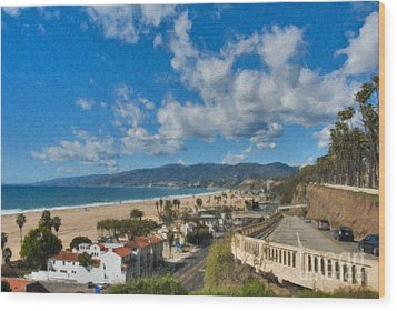Wood Print featuring the photograph California Incline Palisades Park Ca by David Zanzinger
