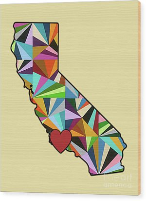 California Love Geometric Map Wood Print by Carla Bank