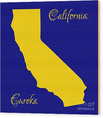 California Map With State Colors And Motto Wood Print by Rose Santuci-Sofranko