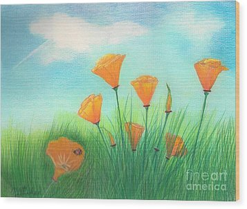 California Poppies Wood Print by Janet Hinshaw
