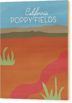 California Poppy Fields- Art By Linda Woods Wood Print by Linda Woods