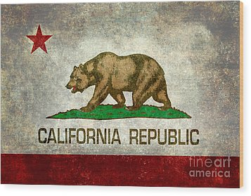 California Republic State Flag Retro Style Wood Print