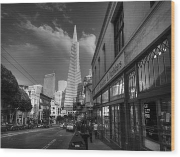 Wood Print featuring the photograph California - San Francisco 009 Bw by Lance Vaughn