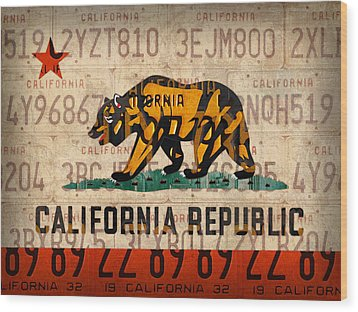 California State Flag Recycled Vintage License Plate Art Wood Print by Design Turnpike