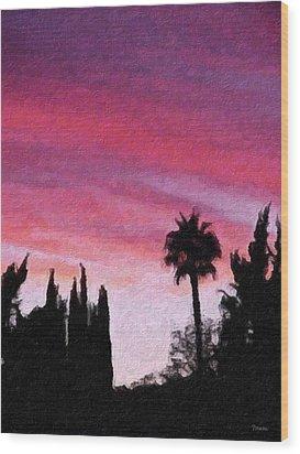 California Sunset Painting 2 Wood Print by Teresa Mucha