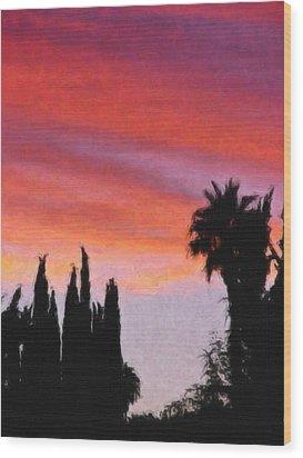 California Sunset Painting 3 Wood Print by Teresa Mucha