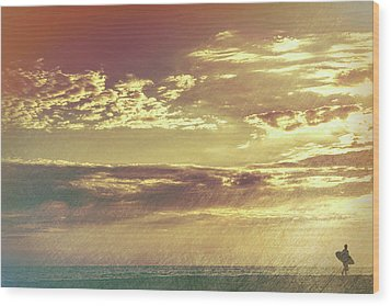 California Sunset Surfer Wood Print
