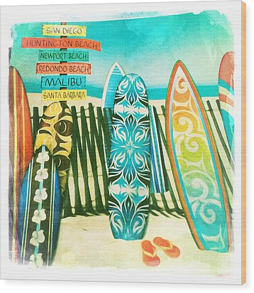 California Surfboards Wood Print by Nina Prommer