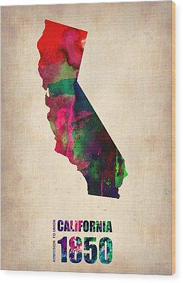 California Watercolor Map Wood Print by Naxart Studio