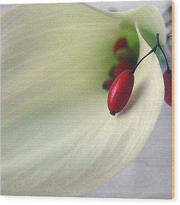 Calla Berries Wood Print by Brenda Leitow