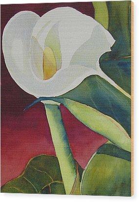 Calla I Wood Print by Judy Mercer