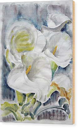 Wood Print featuring the painting Calla by Jasna Dragun