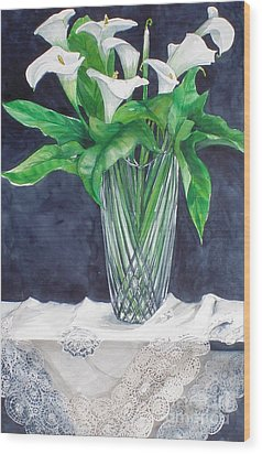 Calla Lilies And Lace Wood Print