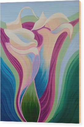 Wood Print featuring the painting Calla Lilies by Irene Hurdle