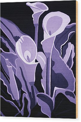 Calla Lillies Lavender Wood Print by Angelina Vick