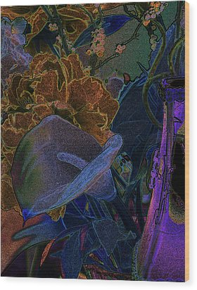 Wood Print featuring the digital art Calla Lily Abstract by Stuart Turnbull
