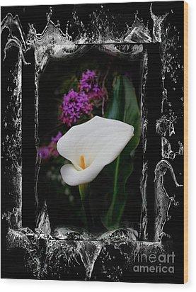 Wood Print featuring the photograph Calla Lily Splash by Al Bourassa
