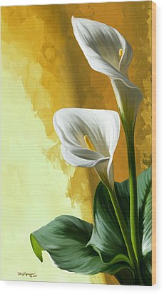 Calla Lily Wood Print by Thanh Thuy Nguyen
