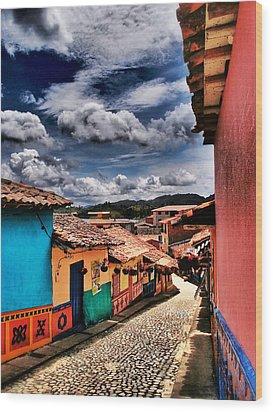 Calle De Colores Wood Print