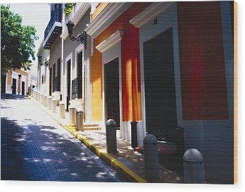 Calle Del Sol Old San Juan Puerto Rico Wood Print by George Oze