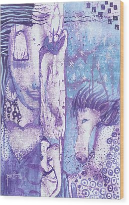 Wood Print featuring the mixed media Calling Upon The Spirit Animals by Prerna Poojara