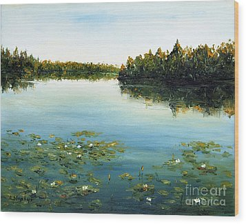Wood Print featuring the painting Calm by Arturas Slapsys
