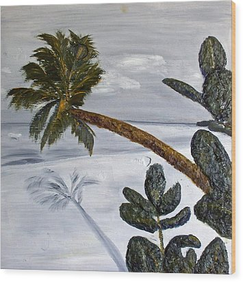 Calm Beach Palm Wood Print
