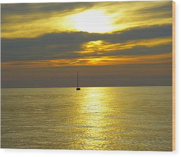 Wood Print featuring the photograph Calm Before Sunset Over Lake Erie by Donald C Morgan