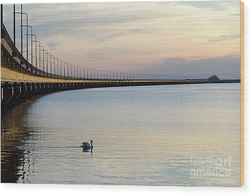 Calm Evening By The Bridge Wood Print