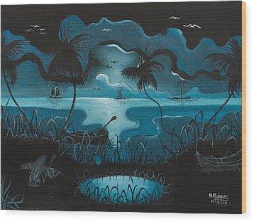 Calm Moonlit Sea Wood Print by Herold Alvares