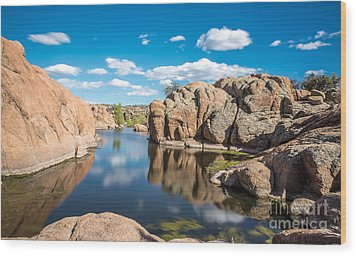 Calm Reflections At Watson Lake Wood Print by Leo Bounds