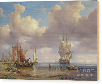 Calm Sea Wood Print by Adolf Vollmer