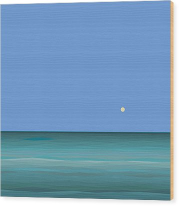 Wood Print featuring the digital art Calm Sea - Square by Val Arie