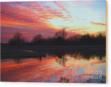 Wood Print featuring the photograph Calming Sunset by Larry Keahey