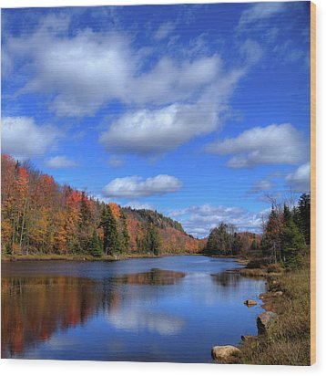 Calmness On Bald Mountain Pond Wood Print by David Patterson