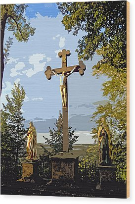 Wood Print featuring the photograph Calvary Group - Parkstein by Juergen Weiss