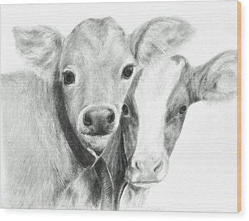 Calves Wood Print by Meagan  Visser