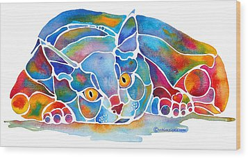 Calypso Cat Wood Print by Jo Lynch