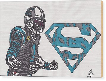 Cam Newton Superman Edition Wood Print by Jeremiah Colley