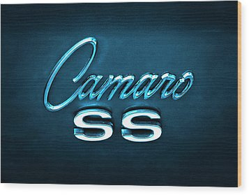 Wood Print featuring the photograph Camaro S S Emblem by Mike McGlothlen