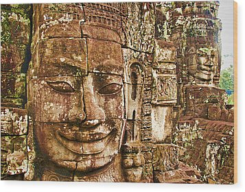 Cambodia Faces  Wood Print by Dennis Cox WorldViews